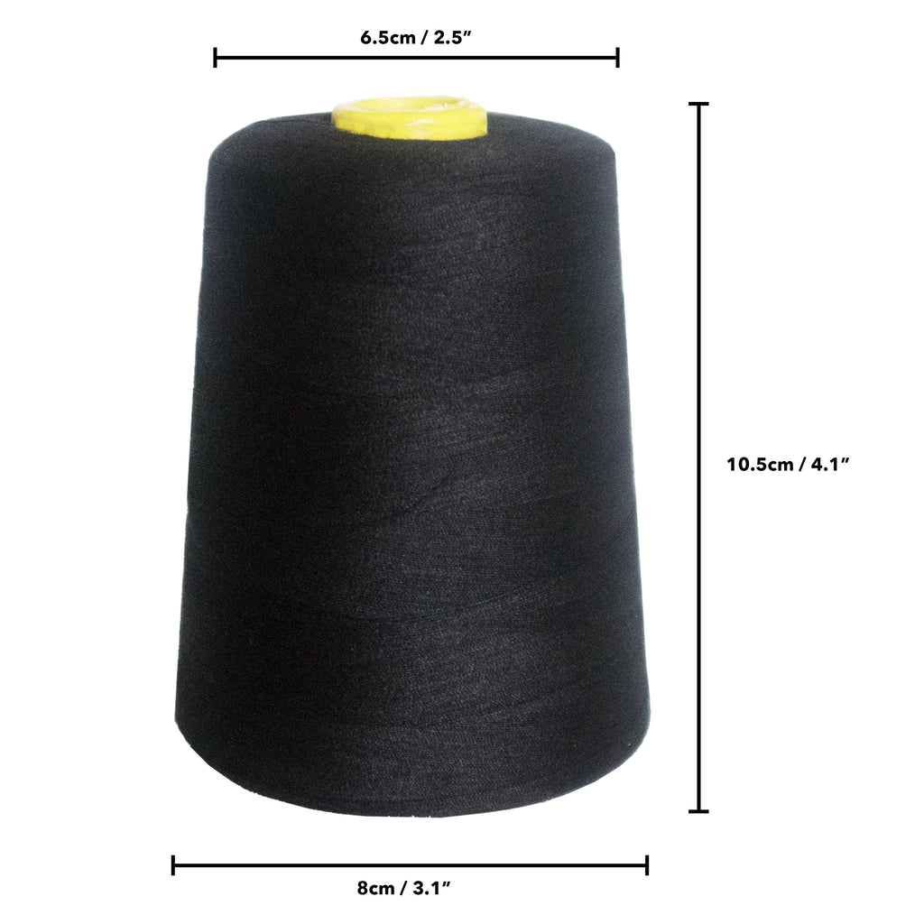 Curtzy - Sewing thread - 4 x 5000 Yard Black Sewing Machine Polyester Thread  Spool Perfect for Hand & Machine - Cross Stitch threads For Embroidery, Quilting & Upholstery