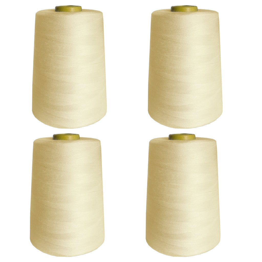 Curtzy 4 pcs Overlock Thread - 4 x 5000 Yards Sewing Thread - Sewing Machine Thread Set - Polyester Thread Spool for Embroidery, Quilting and more - Overlockgarn - Overlocker Thread Cones