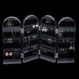 Kurtzy Foldable Clear Transparent Acrylic Jewellery Organiser Tall Storage Display for Earrings, Necklaces and Bracelets - Holds 120 Pairs of Earrings