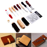 Kurtzy 20 Pcs Leather Sewing Kit - Leather Stitching Awl- Sail Repair Kit with Waxed Leather Thread- Sew Leather Kit includes Awl, Thimble Ring, upholstery, Curved, Shoe & Sail Needles
