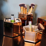Kurtzy 3 pcs Makeup Organizer - Rose Gold Mirrored Hexagon Storage Pots - Cosmetic Brush Holder - Beauty Organizer for Dressing Table, Nail & Lip Brush - Makeup Storage - Jewellery Organizer Box