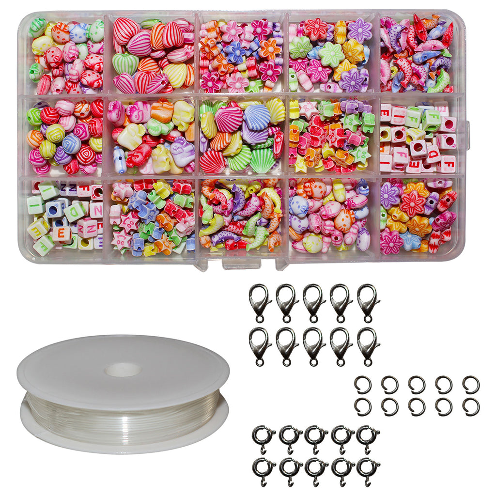 Kurtzy 382 Pcs Children DIY Beads Set Bracelet Bead Art & Jewellery Making Tool - Bead String Making Set with Assorted Shape Pop Beads, A-Z Letter Beads, Elastic Cord, Jump Rings, Lobster Clasp & Box
