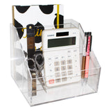 Kurtzy 3 Compartments Table Desktop Organizer -Acrylic Office & Home Desk Organizer holding Jewelry ,Stationery, Business Card, Crafts Mobile Phone, Remote Control, Magazine etc