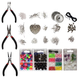 800 Pcs Silver Plated Jewellery Making Kit - Jewelry Supplies Findings/Repair Kit and Starter Tools Kit for DIY Large Bulk Kit with Pliers, Assorted Beads, Silver Findings, Wire Earrings and More