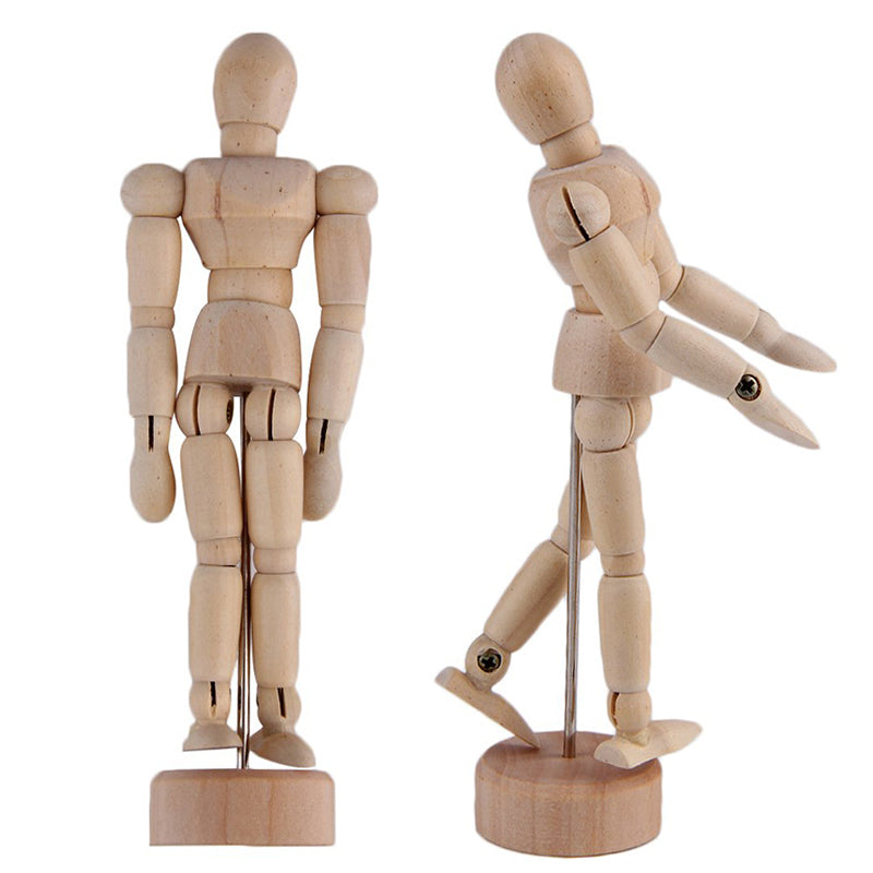 "KURTZY 2 Pcs Wooden Mannequins - 12"" Wooden Human Mannequins - Artist mannequin with stand - Wooden Artist Manikin for Art/body Drawing"