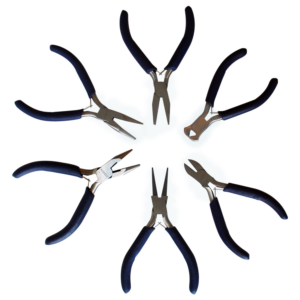 Kurtzy Pliers Set of 6 Piece -Plier Set with Nipper, Wire Cutter, Needle Nose Pliers, Round Nose Pliers, Flat Nose Pliers - Mini Precision Pliers Set for Jewellery Making Kit, Electrical Tool