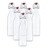 6 Pack Clip Top Glass Bottle / Swing Top Bottles / Traditional Airtight Clip Top Preserve Glass Bottles - 960ml Home Brew Bottles for Drinks, Beer, Wine, Condiments & More - Glass Bottle Stopper