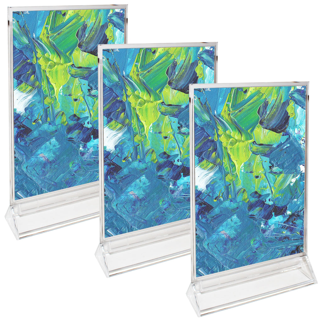 "Perspex Display Stands (3 Pcs ) - Double Sided Clear A4 Portrait Counter Top Vertical Poster Presentation Stands, Upright Plastic Desk Sign Holder, Poster Holder ,Menu holder, Photo holder with Flat Base-  Size 35cm (13.77"") H & 22.5cm (8.85"") W"
