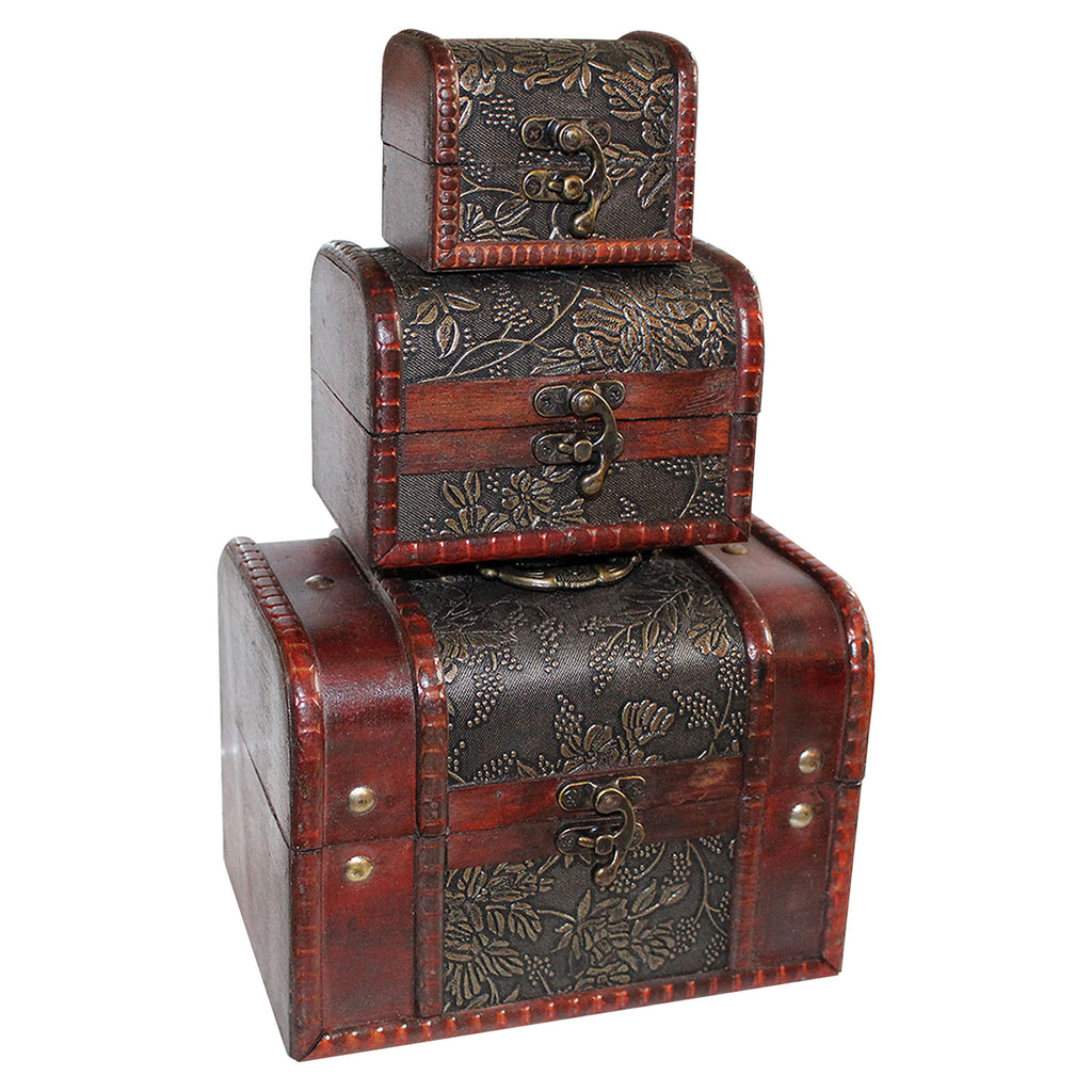 Wooden Jewelery Box - Set of 3 Wooden Vintage Jewellery storage box, Treasure chest, Make up organizer, wood box case, Gift Box Accessories - Ring, Necklace and Bracelet