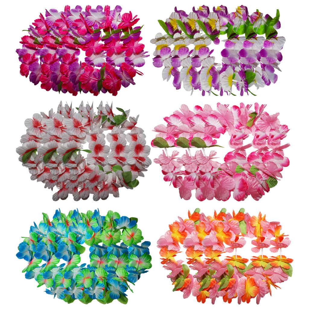 Kurtzy 24 Pieces Hawaiian Garlands Set - Colourful Hawaiian Lei Flower Hula Headbands for Luau Head Decorations, Summer Party, Beach Theme Wedding, Tropical Party Accessories, Fancy Dress and More