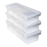 Kurtzy 3 Pack Acrylic Fridge Storage Organiser - Plastic Crisper Box - Stackable Refrigerator Trays ? Food Storage Container - Kitchen Organiser Bins for Meat, Small Condiments, Vegetable & more