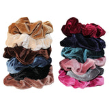 Kurtzy 12 pcs Scrunchies - Colourful Velvet Hair Scrunchie - Thick Hair Bobble Bands - Elastic Hair Band for Women -  Hair Scrunchy Ties in Browns, Grey, Blues, Beige, Dusky Pink, Rose Red and Black