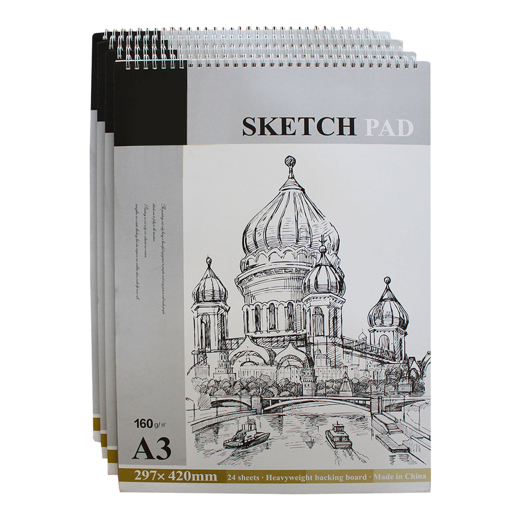 Kurtzy Art Sketch Pad - A3 Drawing Sketch Pad for Art and School Supplies - 4 Pcs of Spiral Bound Artist Sketch Book - Art Sketching Pad ideal for Drawing (24 Natural White Sheets X 4 Sketching Pad)