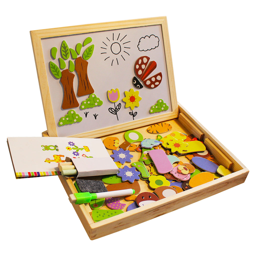 Kurtzy Jigsaw Puzzles - 110 Pieces of Wooden Magnetic Board Puzzles - Double Sided Drawing Easel Chalkboard for Kids - Farm Pattern Educational Toys include Board, Chalks, Pen, Eraser With Storage Box