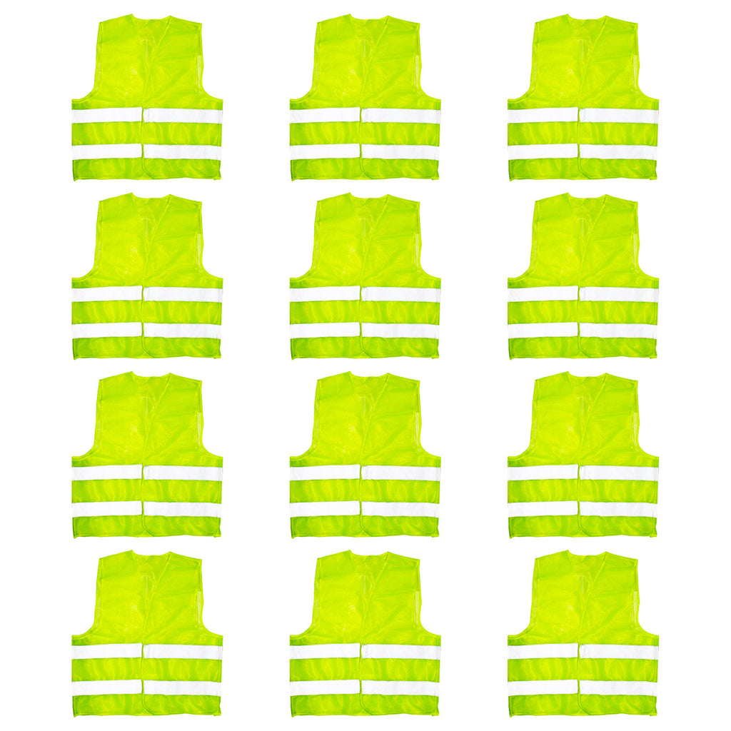 12 Pack of Large Reflective Yellow High Visibility Safety Vest by Kurtzy - Heavy Duty Vest for Men and Women - Grey Reflective Stripes - For Running, Work, Motorcycle, Traffic Warden, Police and More