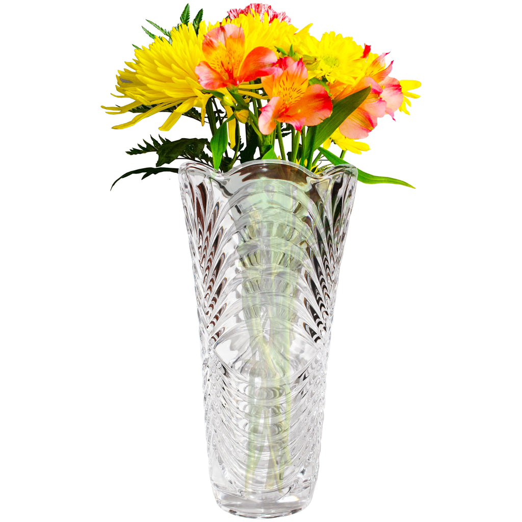 Kurtzy Pack of 2(30cm) Large Embossed Crystal Clear Glassware Vases for Wedding Centerpiece Decoration, Flower Vases for Living Room, Event Party Decoration - Wedding Gift and Home Decor
