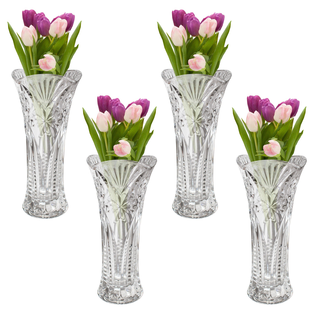Kurtzy Pack of 4 Mini Embossed Crystal Clear Glassware Vases for Wedding Centerpiece Decoration, Flower Vases for Living Room, Event Party Decoration - Wedding Gift and Home Decor