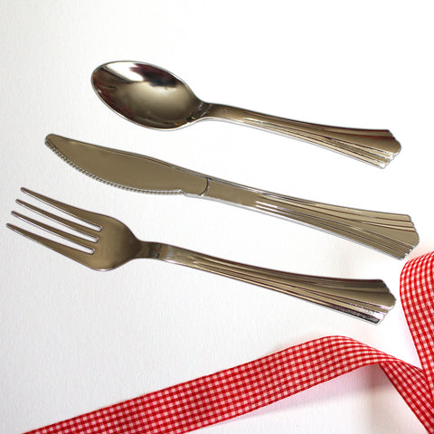 180pcs Silver Plastic Disposable and Reusable Cutlery