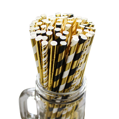 100 Piece Paper Party Drinking Decorative Straws by Belle Vous - Black, White and Gold Designs for Wedding, Baby Shower, BBQ, Thanksgiving, Christmas, Birthday and Engagement Parties