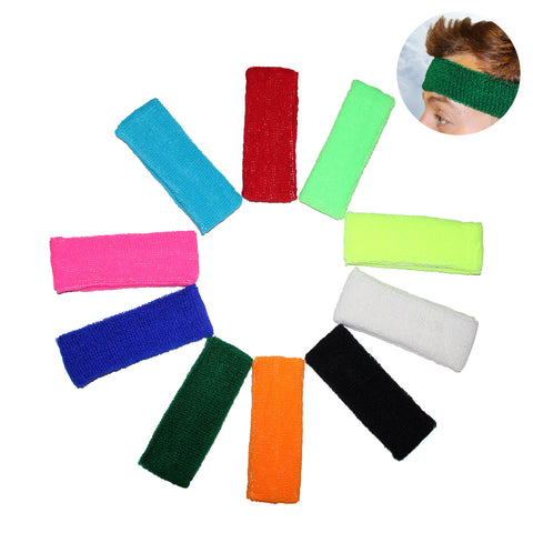 10 Pack of Sweatband Headbands
