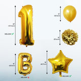 Happy Birthday Balloon Banner Set: Gold White & Black