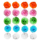 Multicolor Tissue Pom Pom Balls Decoration Set