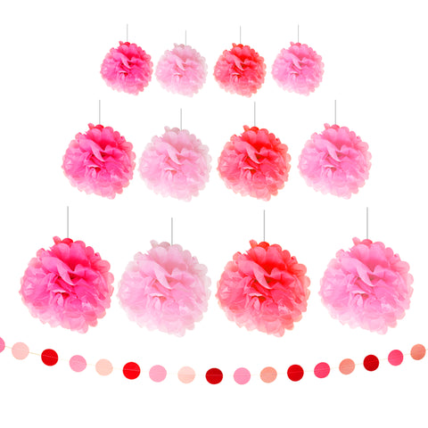 Pink Tissue Paper Pom Pom with Banner Decorations Set