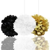 Banner Set: Gold, White & Black Happy Birthday