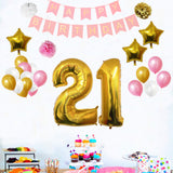 Happy Birthday Banner Set: Gold, White & Pink