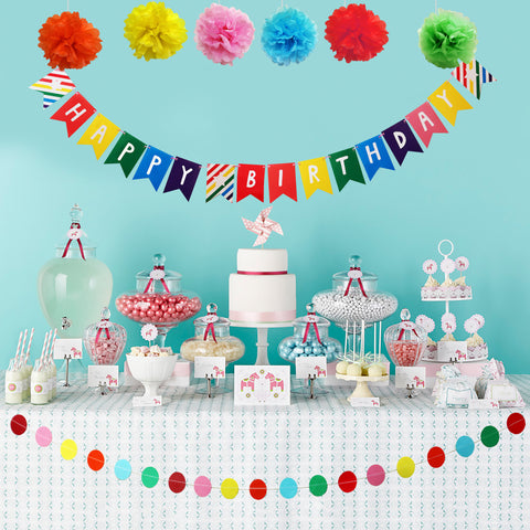 Multicolour Pom Pom and Happy Birthday Banners set