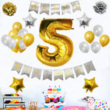 Banner Set: Gold & Silver Happy Birthday