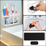 Kurelle No Drilling No Screws Toothbrush Holder - 10 Slot Self Adhesive Wall Mount Metallic Bathroom Toothbrush Organiser Size (9.3x5.7cm) - Toothbrush & Toothpaste Storage for Children and Adult