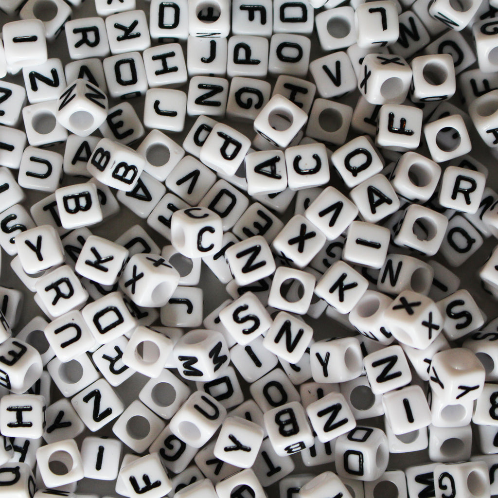1000 Pack of White Alphabet Beads