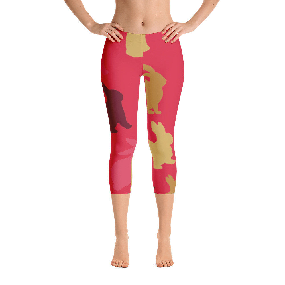 Red Multi Rabbit Patterned Capri Leggings
