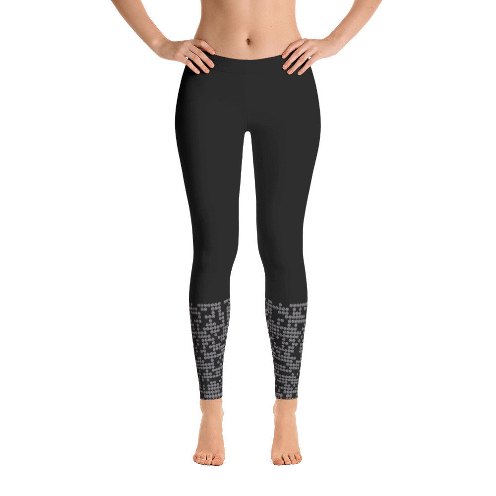 Black Low Patterned Dot Leggings