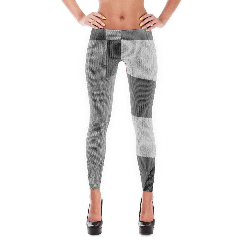 Grey Boxed Patterned Leggings