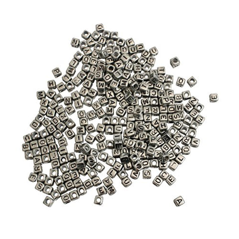1000 Pack of Square Silver Alphabet Beads