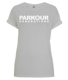 PKGen Womens Rolled Sleeve T-Shirt - Brand Logo - White