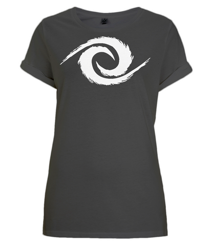 PKGen Womens Rolled Sleeve T-Shirt - Legacy Swirl - White