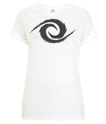 PKGen Womens Rolled Sleeve T-Shirt - Legacy Swirl - Black