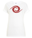 PKGen Womens Rolled Sleeve T-Shirt - Legacy Swirl - Red