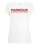 PKGen Womens Rolled Sleeve T-Shirt - Brand Logo - Red