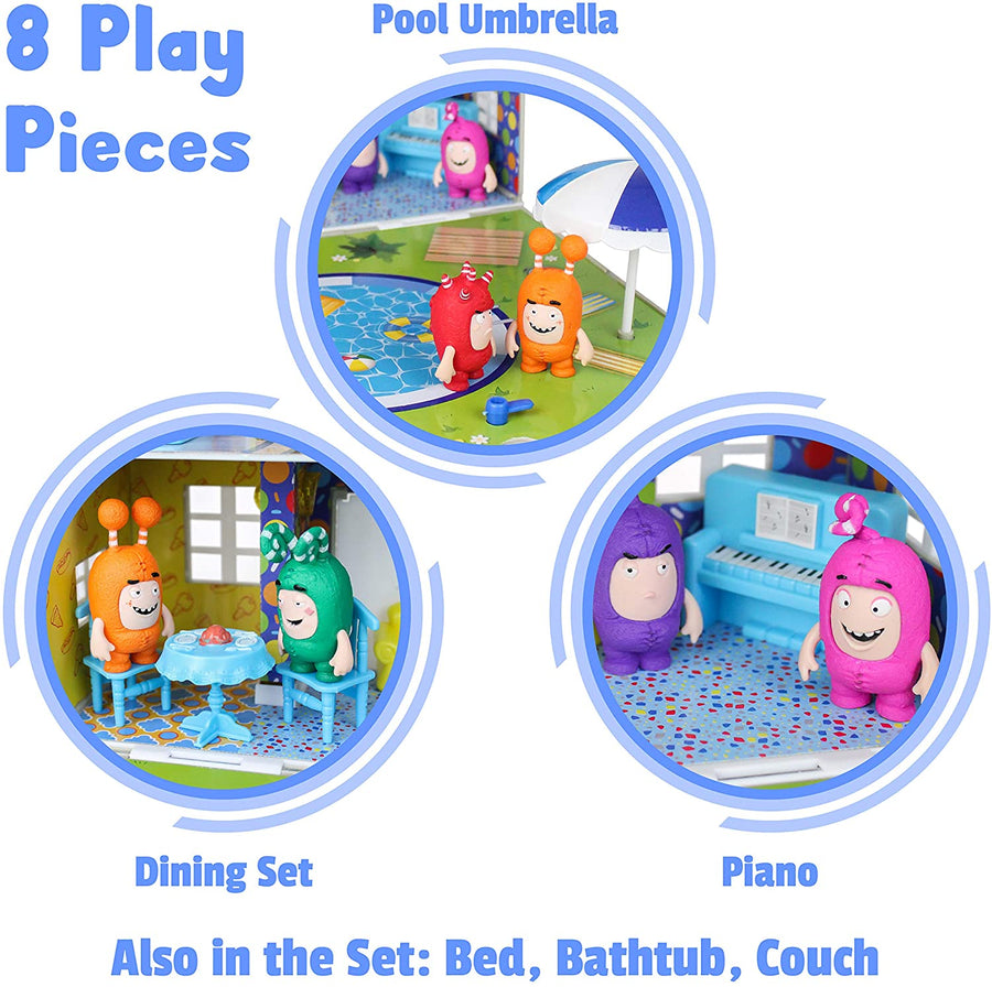 Oddbods Red, White, and Grey House Playset
