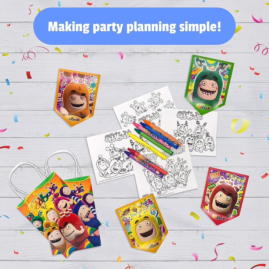 Oddbods Birthday Party Banner and Favor Bags with Coloring Packets - 21 Pieces