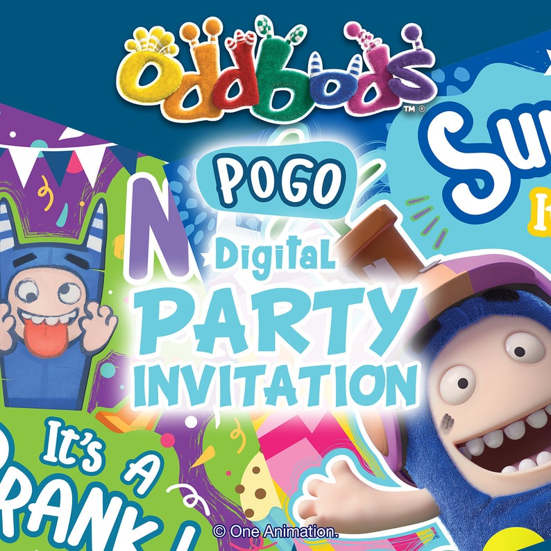 Oddbods Blue Pogo Printable DIY Party Invitation Card (Digital Files)