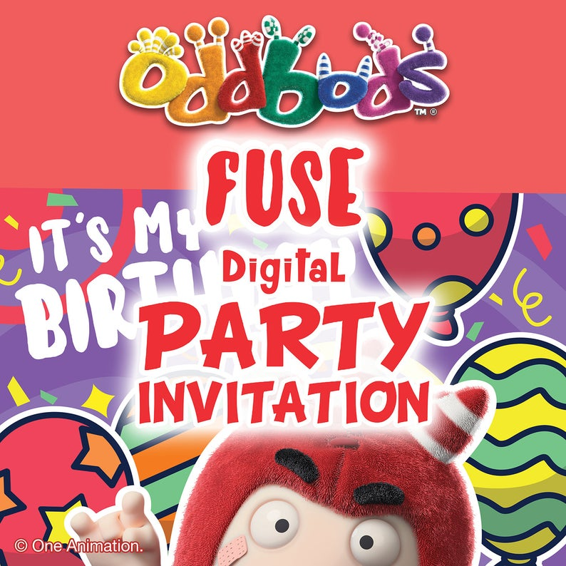 Oddbods Red Fuse Printable DIY Party Invitation Card (Digital Files)