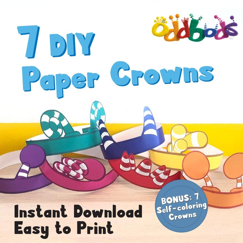 Oddbods Printable Paper Crowns Origami for Kids (Digital Files)