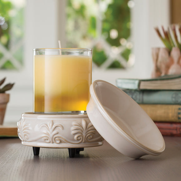 Cream Embossed 2-in-1 Classic Fragrance Warmer - 15% OFF MOVING SALE