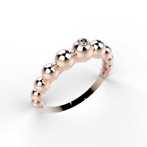 Bolletjes ring met diamant