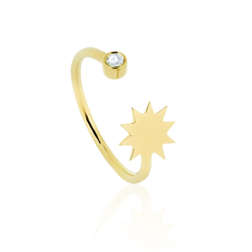 Zon open ring met diamant